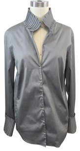 Akris Pintucked Collar Top Gray