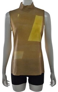 Akris Womens Beige Wool Sleeveless Color Block Shirt Top Multi-Color