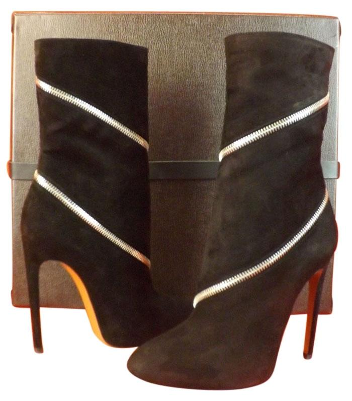 a4bbd3b12d0 ALAÏA Black Suede Silver Zip High Heel Boots/Booties Size Size Size ...