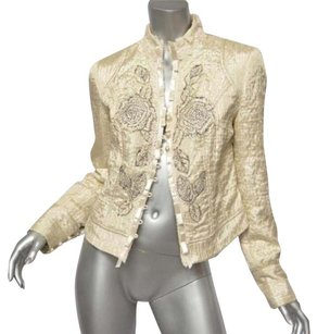 Alberto Makali Creamwhite Shimmering Floral Crystal Beaded Quilted Ivory Jacket