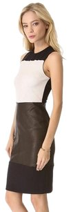 A.L.C. Alc Black White Curil Leather Colorblock Sleeveless Bodycon Dress
