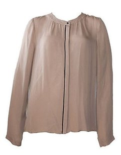 A.L.C. Alc Nude Silk Long Sleeve Top Beige