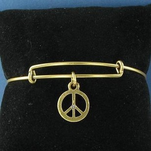 Alex and Ani Alex Ani Charm Bracelet Peace Sign Expandable Bracelet Russian Gold