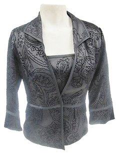 Alex Evenings Alex Evening Pc Black Paisley Print Camisole 34 Sleeve Jacket