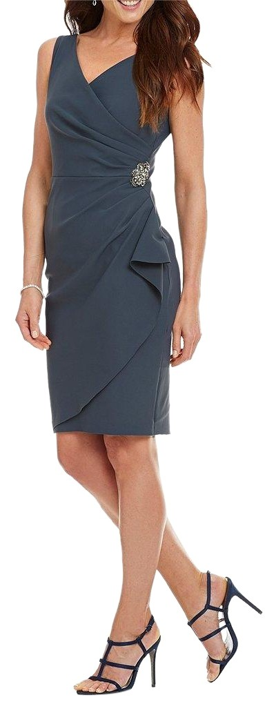 Alex Evenings Charcoal Ruched Sheath Mid Length Formal