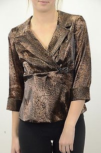 Alex Evenings Leopard Wrap Top Brown
