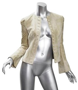Alexander McQueen Womens Suede Leather Button Down Fitted Coat Beige Jacket
