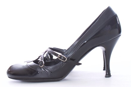 Alexander McQueen Patent Leather Mary Jane Couture BLACK Pumps