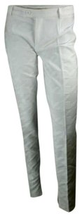 Alexander McQueen White Jaquard Made In Italy Skinny Leg Straight Pants White Embossed