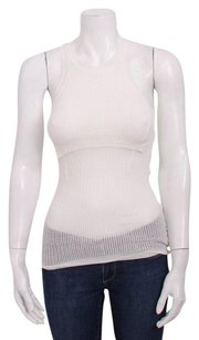 Alexander Wang Layered Ribbed Sleeveless Mesh Open Knit Stretch Top White