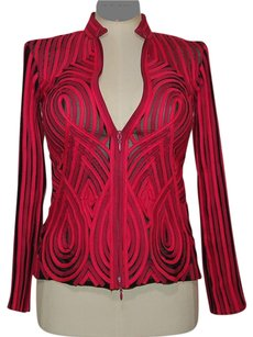 Alexandra Rosati Sheer Zip Fornt Stretchy Top Pink and Black