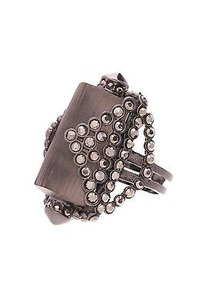 Alexis Bittar Alexis Bittar Gunmetal Gray Lucite Crystal Origami Ring Size 6