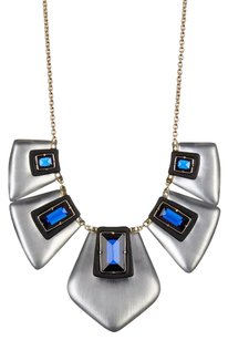 Alexis Bittar ALEXIS BITTAR SILVER LUCITE BLUE CRYSTAL BIB NECKLACE