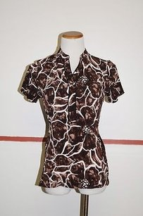 Alfani Short Sleeve Patterned Tie Back Casual 19001 Top brown/white