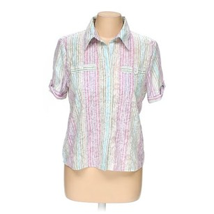 Alfred Dunner Shirt Button Down Shirt Pink
