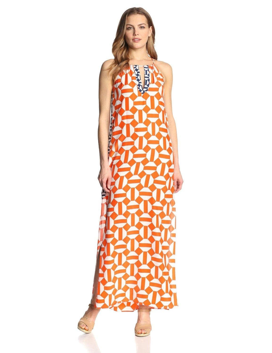 JEAN PAUL GAULTIER maxi dress comes in blue and orange palm print micro stretch mesh with a spaghetti strap bralette top and empire waist long, tiered, maxi skirt. Made in .