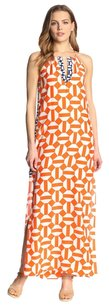 Orange, White, Blue Maxi Dress by Alice & Trixie Silk Print Summer Graphic Maxi