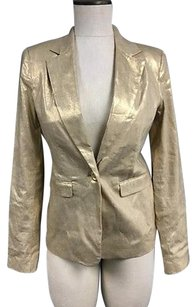 Alice + Olivia Alice Olivia Gold Metallic Linen Blend Collared 1 Button Blazer 311a