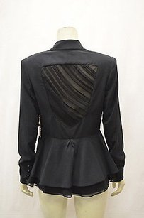 Alice + Olivia Alice Olivia Blk Dressy Blazerjacket Sheer Back Draped Panel 120085