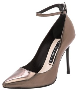 Alice + Olivia Classic Leather Ankle Strap Metallic Pewter Pumps
