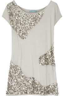 Alice + Olivia Jersey Sequin Embellished T Shirt Gray