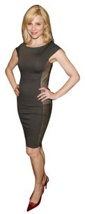 Alice + Olivia Leather Sheath Date Fitted Panel Dress