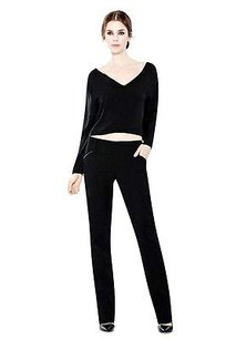 Alice + Olivia Leather Trim Wide Waistband Slim Leg 220897e Pants