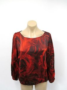 Alice + Olivia Silk Top Red and Black