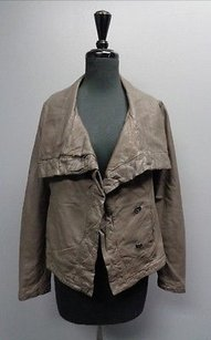AllSaints All Edgy Leather Shawl Collar W Lining Sma7612 Taupe And Gray Jacket