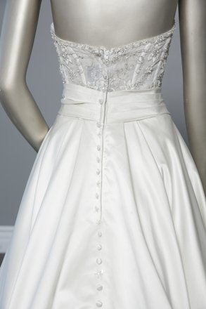 Allure Bridals Ivory/Silver Accents Satin - Style 8904 Formal Wedding Dress Size 10 (M)
