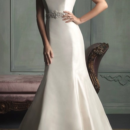 Allure Bridals Ivory Satin Formal Wedding Dress Size 4 (S)