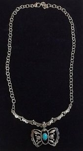 American West American West Sterling Necklace W Turquoise Butterfly Enhancer B3290