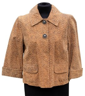 AMI tan and brown small animal print Leather Jacket