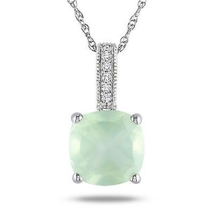 Amour 10k White Gold 110 Ct Tgw Prehnite And Diamond Solitaire Pendant Necklace 17