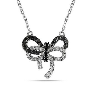 Amour 10k White Gold 13 Ct Tdw Black White Diamond Bow Pendant Necklace H-i I2-i3 17