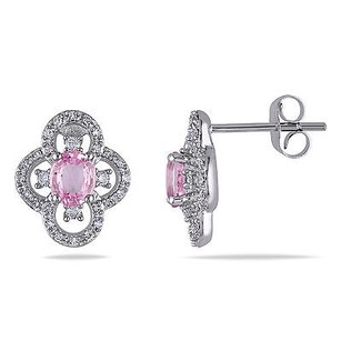 Amour 10k White Gold Pink Sapphire And 14 Ct Tdw Diamond Stud Earrings G-h I1-i2