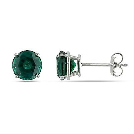 Amour 10k White Gold Simulated Emerald Solitaire Stud Earrings 1.66 Ct Tgw