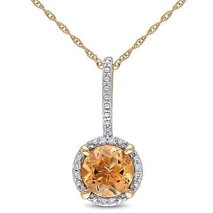 Amour 10k Yellow Gold 1 14 Ct Tgw Citrine And Diamond Halo Pendant Necklace 17