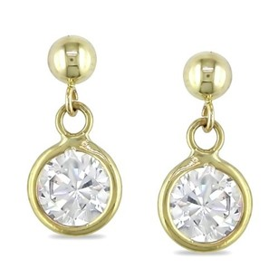 Amour 10k Yellow Gold Cubic Zirconia Stud Earrings