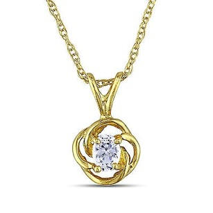 Amour 10k Yellow Gold Oval Cubic Zirconia Pendant Nckalce 17 Chain