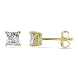 Amour 14k Gold Princess Cut 34 Ct Diamond Square Geometric Solitaire Stud Earrings