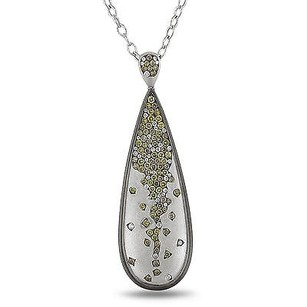 Amour 14k White Gold 1 78 Ct Tdw Multi Color Diamond Pendant Necklace G-h Si1-si2 17