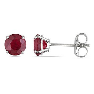 Amour 14k White Gold 1 Ct Tgw Red Ruby Stud Earrings Butterfly Back