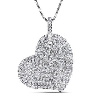 Amour 14k White Gold 12 Ct Tdw Pave Diamond Heart Pendant Necklace G-h Si1-si2 17