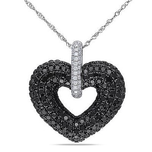 Amour 14k White Gold 35 Ct Tdw Black White Diamond Heart Pendant Necklace G-h 17