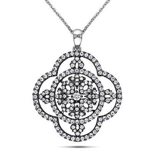 Amour 14k White Gold Sapphire And 12 Ct Tdw Diamond Pendant Necklace G-h I1-i2 17