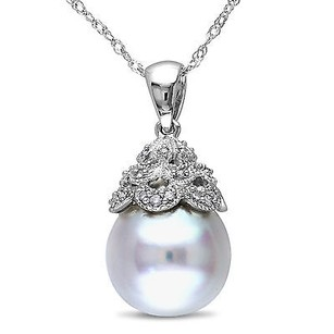 Amour 14k White Gold South Sea Pearl And Diamond Accent Pendant Necklace G-h I1-i2 18