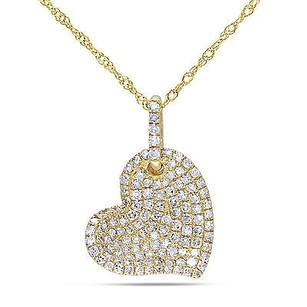 Amour 14k Yellow Gold 12 Ct Tdw White Diamond Heart Pendant Necklace G-h I1-i2 17