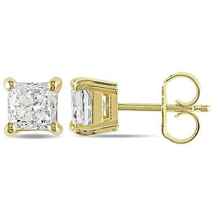 Amour 14k Yellow Gold 34 To Ct Tdw Princess-cut Diamond Stud Earrings J-k I2-i3