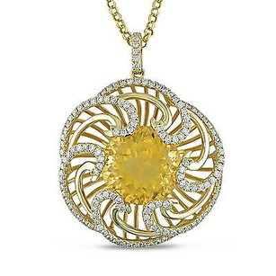 Amour 14k Yellow Gold Ct Tgw Citrine 1 Ct Tdw Flower Pendant Necklace G-h Si1 17